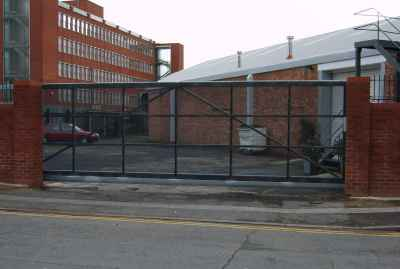 A Weldmesh covered commercial sliding security gate